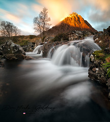 monday morning (donnnnnny) Tags: buachaille etivemor glencoe waterfall morninglight scotland mountains