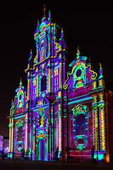Neon Baptism (Dave Schoeters) Tags: illuminated church architecture city urban building light night color colors colorful brussels belgium europe brusselsbright neon purples blues lightfestival lightart brightbrussels