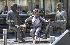 Spoiled for Choice (Frank Fullard) Tags: fullard candid street portrait lady sexy spoiled choice statue sculpture galway irish ireland lol fun happy smiling fantasy wilde oscarwilde art artist holiday tourist visitor fondle erotic dream romance romantic hand knee