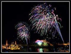 Fireworks_9098 (bjarne.winkler) Tags: 2018 new year fireworks over sacramento river california tower bridge pyramid ziggurat building delta king