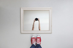 Click! (YetAnotherLisa) Tags: red converse shoes mirror atmyfeet looking down