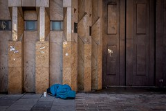 Blue (Leanne Boulton) Tags: building urban street candid streetphotography candidstreetphotography streetlife sociallandscape urbanlandscape architecture dalehouse bank repository imposing doorway security person anonymous homeless vagrant sleeping sleepingbag blue contrast juxtaposition documentary socialdocumentary reportage despair sadness misery grit grime powerful minimalism story tone texture detail naturallight outdoor light shade city scene human life living humanity society culture lifestyle people canon canon5dmkiii 35mm ef2470mmf28liiusm color colour glasgow scotland uk