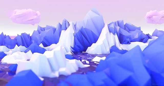 Обои полигон, горы, арт, сиреневый, белый картинки на рабочий стол, фото скачать бесплатно