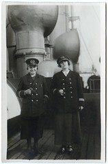 . (Kaïopai°) Tags: old vintage uniform marine frau femme woman frow women schornstein ship dampfschiff schiff deck steamer steamship mantel mütze rock dampfer reise