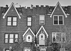 Queens-1 (albyn.davis) Tags: nyc newyorkcity queens urban city building architecture windows doors triangles shapes blackandwhite usa geometry