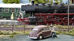 Lifelike Railway Modelling. (ManOfYorkshire) Tags: 2100 steam engine loco locomotive germany german scale 143 ogauge station passengers people realistic model modelling ahrvalley fictitious vw beetle repair lincoln 2019 exhibition 1960s period 502818