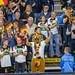 Deutsche Fans mit Flagge und Kostümen auf Tribüne bei Handball Weltmeisterschaft 2019