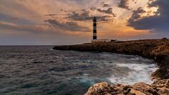 Cap d'Artrutx lighthouse (Enrico Cusinatti) Tags: acqua clouds cielo enricocusinatti landscape mare rocks sea sky sunset seascape travel viaggi vacation spain menorca