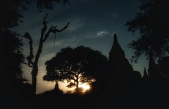End of the day in Bagan (ValterB) Tags: sun light dark clouds cloud sky sunset temple nikond90 bagan myanmar burma valterb asia tree shadow silhouette black blue