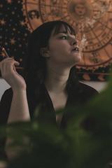 Smoke & Boudoir | 4 (_ALBX_) Tags: indoor naturallight boudoir smoke cigarette woman bedroom portrait photography photographer canon canon80d sigma 30mm albxphoto albx art