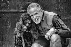 Scott and Chloe (Thomas Hawk) Tags: america bayarea california chloe marin marincounty pointreyes pointreyesstation sfbayarea scottjordan standardpoodle usa unitedstates unitedstatesofamerica westcoast westernmarin bw dog poodle us fav10 fav25 fav50