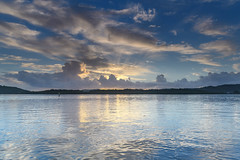 Early Morning Bay Waterscape (Merrillie) Tags: daybreak woywoy landscape nature bay reflections foreshore newsouthwales clouds earlymorning nsw brisbanewater australia cloudy morning coastal water outdoors waterscape sunrise centralcoast sky dawn