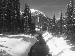 Chateau Fairmount Lake Louise (Mr. Happy Face - Peace :)) Tags: black white bw albertabound cans2s snow spring chateau hotel fairmount weekend flickrfriday art2019