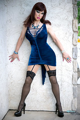 Blue velvet and high heels (Juliapanther Over 63 million views, thanks!!!) Tags: julia panther juliapanther tgirl model posing fashion mini dress skirt micro makeup makeover velvet velour brunette blue nylon legs pantyhose stockings suspender pvc pumps high heels fetish pinup long pink tight lips lipstick eyes nails true colors artistry amanda richards velvetdress beauty sensual portrait mac redhead red head hair