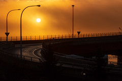 Ominous Sun Above Casco Bay Brige (Corey Templeton) Tags: cascobaybridge city fog harborviewpark portlandmaine sun sunrise winter portland maine unitedstates us
