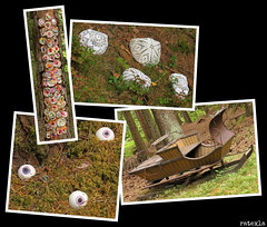 20180803_12 Various art installations in forest | The trail Bohusleden, section 16 - Kaserna to Harska | Bohuslän, Sweden (ratexla) Tags: ratexlasbohusledenhike bohusleden bohusledenetapp16 3aug2018 2018 canonpowershotsx50hs bohuslän sweden sverige scandinavia scandinavian europe earth tellus travel travelling traveling journey epic photophotospicturepicturesimageimagesfotofotonbildbilder wanderlust vacation holiday semester trip backpacking resaresor europaeuropean sommar summer ontheroad nordiccountries norden skandinavien hiking hike beautiful vandra vandring vandringsled vandringsleder art konst collage polyptych tetraptych