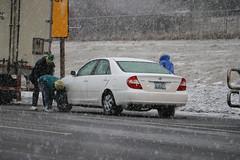 Chaining up (OregonDOT) Tags: snow snowstorm chains winter winterdriving trucks oregondot oregon i5 interstate5 siskiyousummit siskiyou
