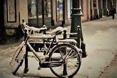 snow ...... an early morning ... (Eggii) Tags: street city winter snow bike