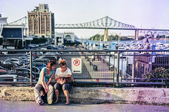 Old Port Touristas - 35mm Point & Shoot (Irrational Photography) Tags: μ retro vintage antique hipster old analogue analog picture photo film grain noise slr tlr 35mm 35 montreal quebec city canada point shoot pointandshoot ultramax gold pushed olympus zoom dlx deluxe port cartier bridge jacques marina tourist superzoom 110 multi af fujifilm superia xtra 400 no parking bleach soup street walk walking photography candid path people shop shoppe window wall road