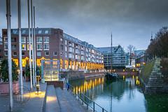 Old port Düsseldorf city (Sony_Fan) Tags: düsseldorf2018sonyalpha6000 sigma 19mm 28 art evening light blue hour water port sony alpha 6000 sonyfan abend abendlicht blaue stunde stadt landeshauptstadt nordrheinwestfalen northrhinewestphalia cityscape nrw photographer