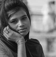 Que será, será Whatever will be, will be. The future's not ours to see (ybiberman) Tags: varanasi india utterpradesh gaiaghat girl adolescent people streetphotography candid flowermerchant scarf nosering ring wondering smile bw