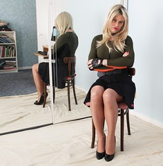 Just taking a seat for a bit. Soon I'm bored as not got my phone to play with!! (Miss Nina Jay) Tags: trannie tights heels