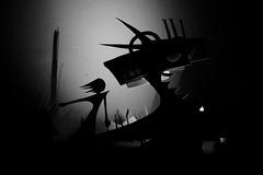 Shadowscape 3 (Skyler Brown Art) Tags: architecture art artwork bw blackwhite blackandwhite creepy dark female girl gothic noir paper sculpture woman