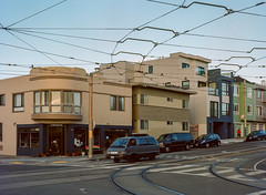 Sunset District // San Francisco (bior) Tags: pentax645nii pentax645 pentax 645 mediumformat 120 sanfrancisco sunsetdistrict portra160nc expiredfilm kodakportra house intersection powerlines streetcorner minibus microbus hangloose
