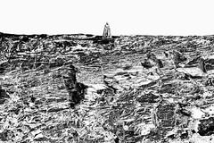 JAN_8939_Psy_B&W (Roy Curtis, Cornwall) Tags: uk cornwall tintagel gallos kingarthurian statue clifftop cliffs rock strata tintagelcastle englishheritage