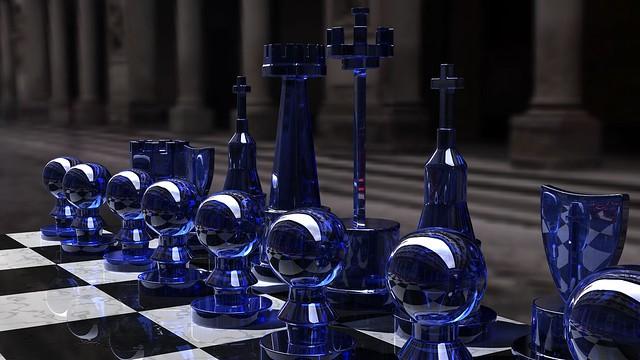 Обои шахматы, синий, стекло, доска, форма картинки на рабочий стол, фото скачать бесплатно