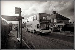 15401, Broadway East (Jason 87030) Tags: scania x10 northampton omnidekka doubledecker headland headlands road street beer glass light lit busstop houses bw bbw black white nor blanc frame border lighting composition stagecoach midlands route service 15401 roadside shot hoot shoot 2010 sony ilce alpha tag
