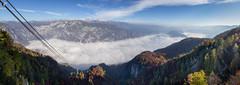 Lake Bohinj under clouds (dieLeuchtturms) Tags: julischealpen nebel herbst europa triglav 17x6 hochnebel panorama bohinjskojezero alpen slowenien alpigiulie alps bohinjsee europe julianalps julier julijskealpe lakebohinj republikaslovenija slovenia autumn fall ribčevlaz radovljica si