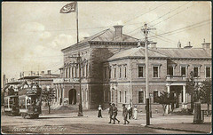 Town Hall in Hobart, Tasmania - WW1 era (Aussie~mobs) Tags: ww1 soldiers tram townhall hobart tasmania australia vintage streetscape building flag architecture