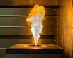 Carbon Residue Ignition (grantdaws) Tags: lab laboratory oil beaker science scientific testing experiment flame carbon residue fuel distillation heat fire