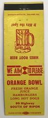 ORANGE BOWL RIPON CALIF (ussiwojima) Tags: orangebowl restaurant drivein ripon california advertising matchbook matchcover