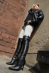 Tabea 46 (The Booted Cat) Tags: sexy blonde hair model girl leather jacket boots overkneeboots heels highheels