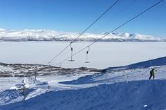 Skiing at Björkliden (kevin-palmer) Tags: björkliden sweden swedishlapland europe arctic march winter cold snow iphone6 torneträsk frozen lake clear sky sunny blue skiing skilift slopes scandinavianmountains bluebirdday