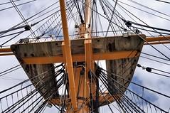Sail rigging platform, Royal Navy HMS Warrior 40-gun iron-hulled steam frigate, 1859. (edk7) Tags: nikond300 nikonafnikkor50mm118 edk7 2012 uk england hampshire portseaisland portsmouth portsea historicdockyard royalnavy hmswarrior 185983 40gunsteampoweredarmourplatedironhulledfrigate warship museum ship engineering historic sailriggingplatform mast rope weatheredwood