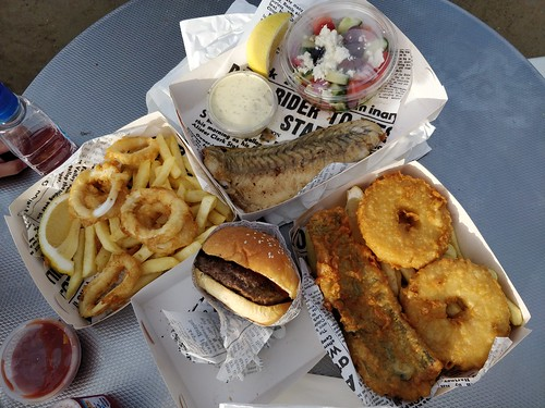 Fish and chips, and a burger from Cerberus Beach House
