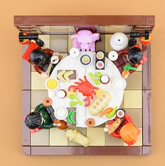 Year of the pig🐷 2/2 (Alex THELEGOFAN) Tags: lego legography minifigure minifigures minifig minifigurine minifigs minifigurines chinese new year table meal dresser food china moc vignette pig of the dog party lunar