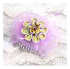 Sunshine Baby (Kurokami) Tags: lindsay ontario canada kimono japan japanese asia asian woman women girl girls lady ladies traditional kitsuke tsumami kanzashi folded flower flowers floral hair ornament ornaments sunshine baby chrysanthemum kiku yellow pale purple ribbon bow comb