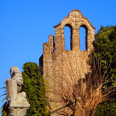Romanesque chapel (chrisk8800) Tags: architecture chapel romanesque trees statue barcelona