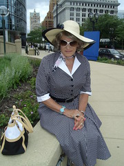 I Love Being A Woman Out-And-About . . . (Laurette Victoria) Tags: shirtwaist dress kerchief hat sunglasses milwaukee downtown laurette woman