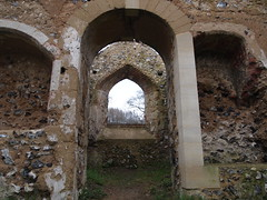 Looking Into the Sanctuary (cycle.nut66) Tags: st james church bix bottom valley chilterns chiltern hills ruin stone arches flint walls trees grass olympus epl1 evolt micro four thirds mzuiko