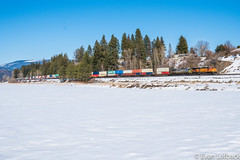 BNSF 5125 West at Bonners Ferry, ID (evanlofback) Tags: railroadbnsf kootenairiversub enginebnsf sunny winter snow bnsf5125 c449w h2 intermodal bonnersferry field