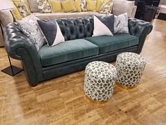 Chester tufted sofa (Brian's Furniture) Tags: norwalk furniture market 2019 spring brians westlake ohio 44145 westside cleveland premarket high quality american made lifetime warranty springs frame cushion core unlimited choices options customizable rocky river bay village upholstered built order locally shop local usa chester leather tufted sofa tight back teal fabric collage