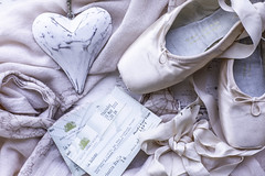 10/30: My baby just loves to dance (judi may) Tags: april2019amonthin30pictures pink balletshoes tickets heart flatlay stilllife ribbons tabletopphotography canon5d 50mm