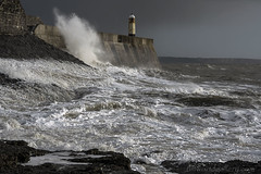 PORTHCAWL WAVES. (IMAGES OF WALES.... (TIMWOOD)) Tags: poothcawl wave storm low breakwater lighthouse bridgend wales welsh sea coast coastal path tide tim wood gallery