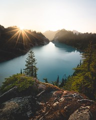 Jade Sunset (StevenScarcello) Tags: washington color colors forest trees scenery valley sunrise jade sunset wilderness lake mountain mountains nature travel pnw