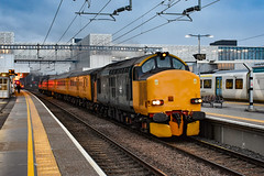 37610 + 37175 - Cambridge North - 08/02/19. (TRphotography04) Tags: hn rail on hire colas br small logo 37610 freight 37175 accelerate past cambridge north working 1q99 1626 recp 13 march down rs test train via kings lynn ipswich norwich colchester felixstowe mistley stowmarket